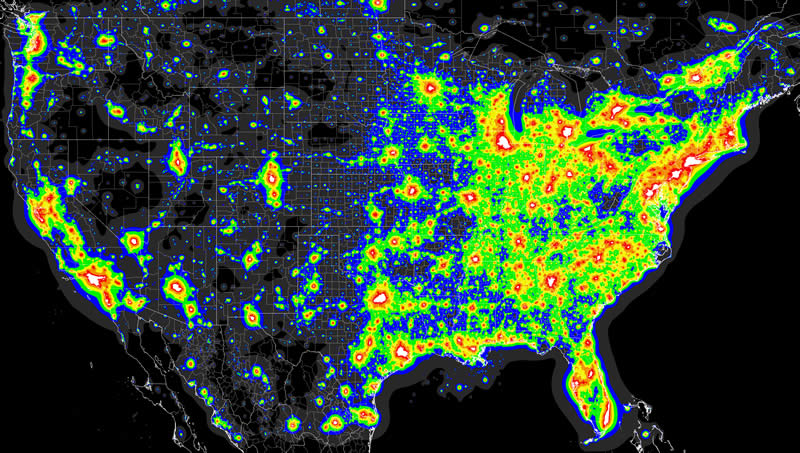 Light Pollution - Us light pollution map